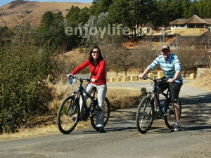 Cycling with my wife in the Drakensburg