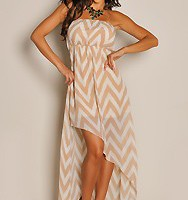Wrap Dress with Chevron Diagonal Prints