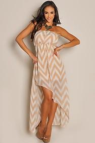 Wrap Dress with Chevron Diagonal Prints