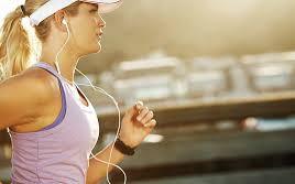 woman running listening to music